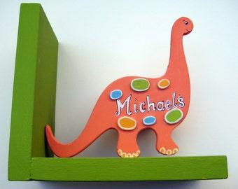 Personalized Orange Dinosaur Bookend,dinosaur,personalized,bookends,boys bookends,childrens bookends,kids bookends,personalized gift,orange