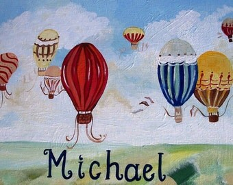 Vintage Balloons,hand painted art,boys room decor,vintage balloons,boys wall art,boys room wall art,boys name art,boys nursery wall hanging