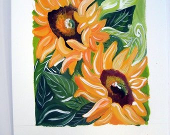 original painting of sunflowers titled SUNBURST painted in acrylics on cold pressed paper,ready to ship, sunflowers, sunflower painting