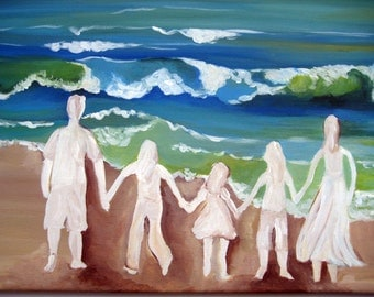 An original painting of a  family silhouette at the beach,family silhouette,family,painting,beach painting,seascape,family room painting