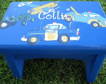 Hand painted Blue Planes,trains,automobiles,stepstool,personalized,customized,step stool,wooden bench,boys stepstool,kids stepstools