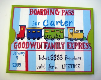 personalized hand painted train boarding pass,family name art,childs name art,train theme wall art,boys room art,boys nursery wall decor,
