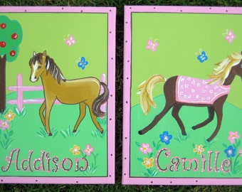 Two  personalized paintings,match pony bedding,personalized paintings for girls,pony paintings,pony wall art,pony wall hangings,girls room