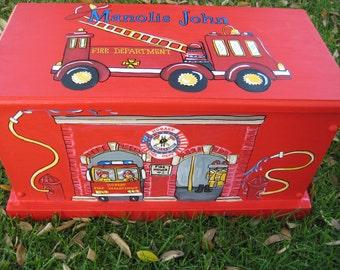 personalized,toy box,red,fire station,hand painted,keepsake box,storage box,boys toy box customized,childrens toy box,kids,baby,storage