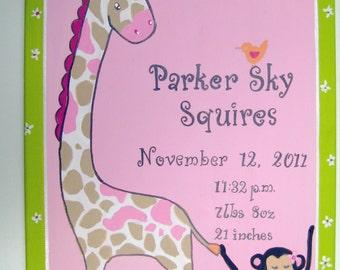 birth announcement,girls birth announcement, customized,personalized,girly jungle,pink jungle,monkey,giraffe,nursery wall hanging,baby gift