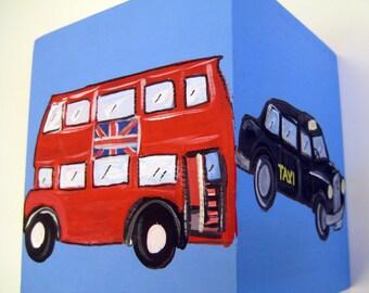 hand painted wooden tissue box,London theme boys decor,double Decker buses,black London taxi cab,nursery decor,boys room decor,tissue box