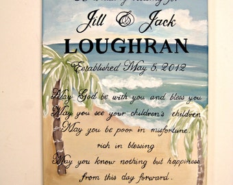 A personalized Irish wedding blessing painted on a seascape for a beach wedding ceremony, a special and highly personalized wedding gift