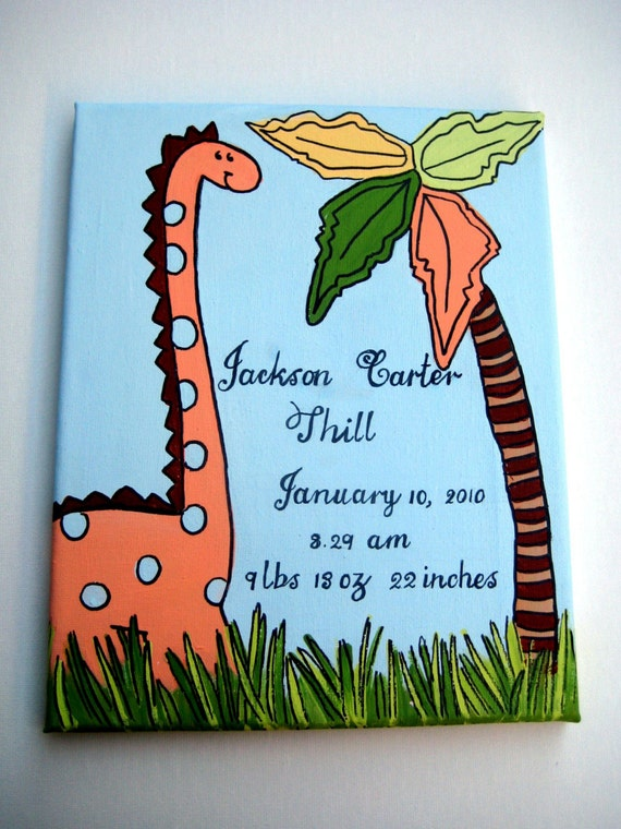 A birth announcement canvas personalized and customized  with an orange dinosaur and a large palm tree, makes a great new baby gift