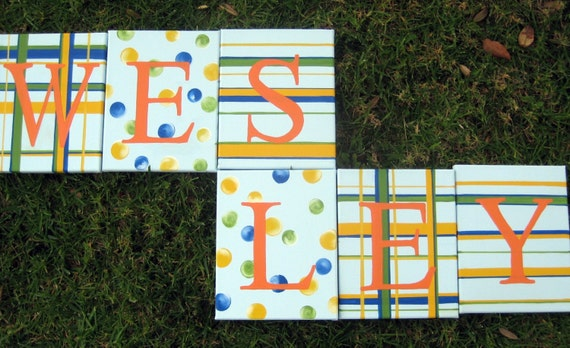 Six canvas Letters, boy's name,customized,stripes, plaid ,polka dots,nursery decor,boys letters,boys name art,wall art,letters,kids letters