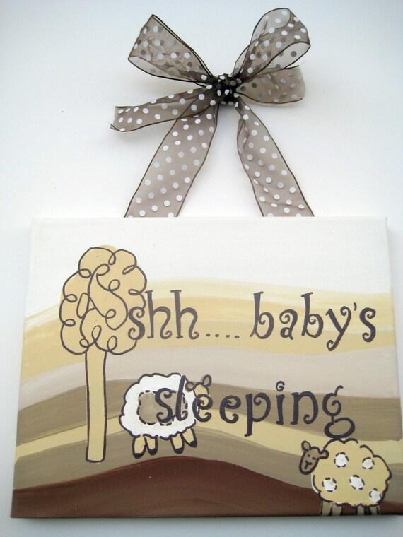 shh baby is sleeping door hang,sheep and rolling hills,creams,browns,new baby gift,baby door hang,baby shower gift,neutral nursery art,