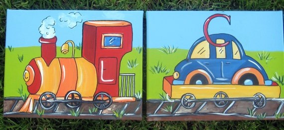 train Wall Art,customized,personalized,wa;; art,kids wall art,boys wall hangings,train art,train theme,primary colors,vehicles,boys letters