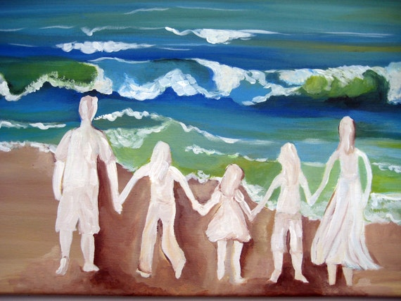An original painting of a  family silhouette at the beach