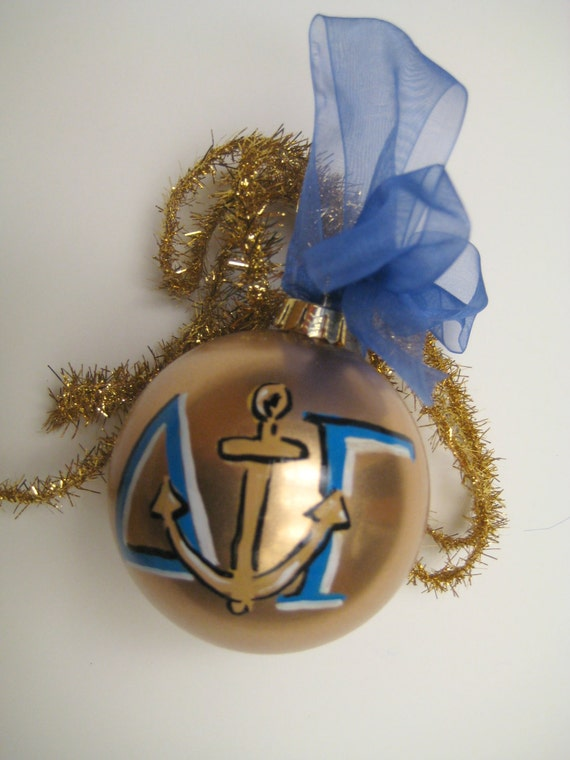 Gold Delta Gamma Christmas ornament, customized and personalized