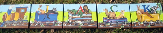 Hand painted train,train letters,train name art,train wall art,train theme,four letters,animals,kids wall art,kids letters,boys name