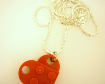 """Red Toy Brick Heart 16"""" Necklace Friends Forever Gift"""