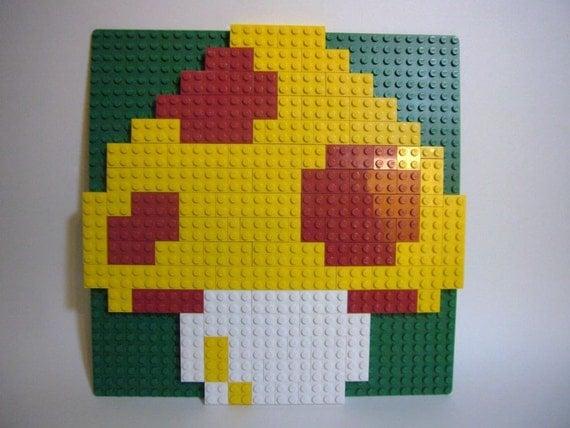 Toy Brick Magic Mushroom Mosaic, ready to hang in a Mario Room