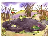 Funny Frog Greeting Card - Frogs Watercolor Painting Illustration Cartoon Print - Frog Art