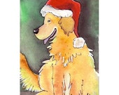 Funny Golden Retriever Dog Christmas Greeting Card, Blank Dog Christmas Card Print From My Original Dog Watercolor Painting Illustration