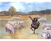 Funny Sheep Greeting Card - Black Sheep Watercolor Painting Illustration Print 'Blaaaack Sheep'