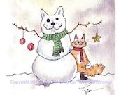 Cat Card- Cat Christmas Greeting Card- Cat Art- Snowman Winter Tabby Cat Watercolor Painting Illustration Cartoon Print 'Snowcat'