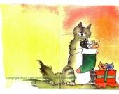 Cat Art- Cat Christmas Greeting Card- Kittens Cat Watercolor Painting Print