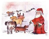 Dog Card- Dog Christmas Card- Dog Art- Dogs & Santa Illustration Watercolor Painting Print 'Wagging and Woofing For Santa'