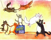 Dancing Cats Greeting Card, Funny Cats Card, Cat Watercolor Illustration Print 'Cat Dance-A-Thon'