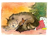 Christmas Card- Christmas Cat Greeting Card- Mouse & Cat Art- Cat Watercolor Painting Illustration Print 'Sleep In Heavenly Peace'