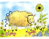 Lamb/ Sheep Art - Easter Card - Sheep Watercolor Painting Illustration- Funny Sheep Greeting Card- Sheep Print 'Sunflower Sheep'