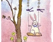 Easter Card - Bunny Rabbit Art - Funny Bunny Rabbit Greeting Card - Rabbit Watercolor Painting Print