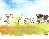 Dogs - Dog Art - Funny Dogs Greeting Card - Watercolor Dogs Cartoon Illustration Print - 'Dogs On Dogs on Dogs On Cat'