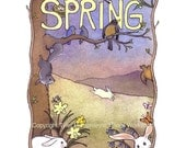 Spring Card - Easter Card - Nature Animals Bunny Rabbits Squirrels Robin Birds Bees - Spring Watercolor Painting Illustration Print