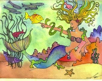 Mermaid Greeting Card, Tropical Fish & Mermaid Watercolor Painting Greeting Card Print 'Rainbow Mermaid'