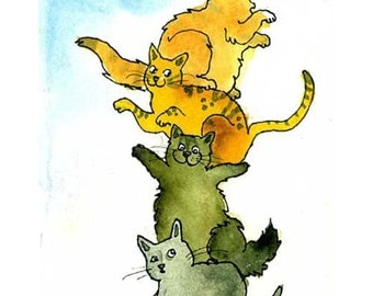 Cats Greeting Card- Funny Cats Watercolor Painting Illustration Print 'Kitty Quartet'