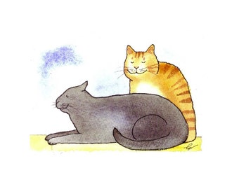 Grey and Orange Cats Watercolor Greeting Card Print\ 'Cats In Repose'