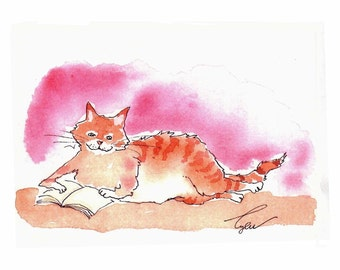 Cat Art Orange Red Tabby Cat Greeting Card Watercolor Painting Illustration Print 'The Literate Cat'