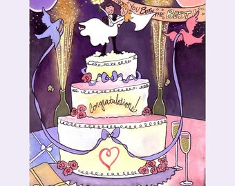 Wedding Card, Wedding Art, Bride Groom Cake Wedding Watercolor Gouache Painting Greeting Card Print