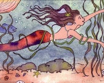 Mermaid Greeting Card - Mermaid Card - Mermaid Warercolor Painting - Fantasy Art - Mermaid Art Illustration Print 'Mermaid's Journey'
