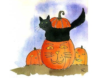 Halloween Greeting Card, Halloween Card, Funny Black Cat Halloween Card, Cat Greeting Card, Funny Pumpkin Cat Cartoon Illustration