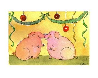 Pig Christmas Card - Pig Art - Pigs Christmas Greeting Card - Pig Christmas Watercolor Card Print 'Piggy Kisses And Christmas Wishes'