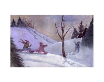 Children Winter Snow Country Landscape Greeting Card Watercolor Painting Print 5x7 'Snow Day'