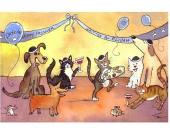 Passover Card- Animals Pets Passover Greeting Card- Animals Watercolor Painting Illustration Cartoon Print 'Waiting for Elijah'