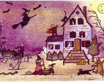Haunted House Halloween Greeting Card, Halloween Card, Handmade Halloween Card, Handmade Greeting Card, Halloween Greeting