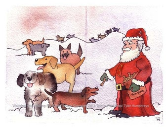 Dog Card- Dog Christmas Card- Dog Art- Dogs & Santa Illustration Watercolor Painting Print 'Wagging and Woofing For Santa'