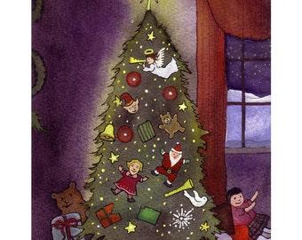 Christmas Card- Christmas Tree Christmas Greeting Card- Christmas Watercolor Card Print