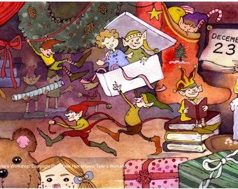 Christmas Card, Christmas Greeting Card, Funny Christmas Elf Elves Card, Christmas Watercolor Greeting Card Print  'Santa's Workshop'