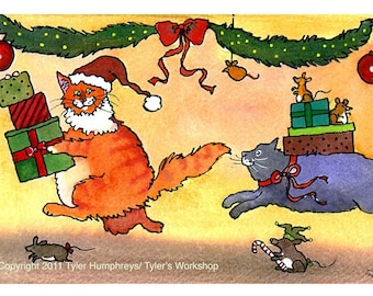 Funny Cats Christmas Card - Funny Cat Holiday Greeting Card - Cat Art - Watercolor Cat Print Illustration