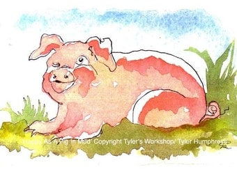 Pig Art, Funny Pig Card, Pig Watercolor Painting Illustration Print, Pig Painting Print 'Happy As A Pig In Mud'