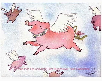 Pig Greeting Card- Funny Flying Pig Watercolor Painting Illustration Cartoon Print 'When Pigs Fly'