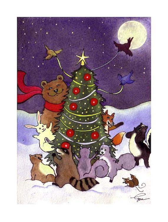 Animals Christmas Greeting Card Print Watercolor Bear Fox